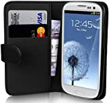 Galaxy S3 Case - Leather Wallet Flip Cover for Samsung Galaxy S3, Black