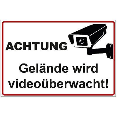 """Schild """"Achtung - Gelände wird videoüberwacht"""" aus PVC Hartschaum Platte 300x200 mm - 3 mm stark"""