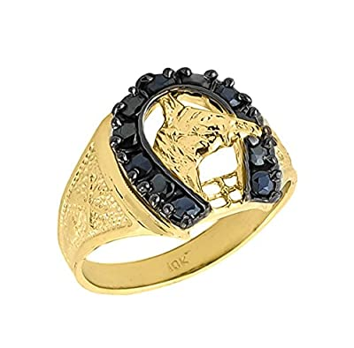 Little Treasures - 10 ct Solid Gold Men's Black Onyx Horseshoe Ring