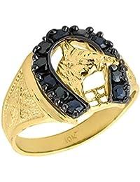 766fa6b2d432 Pequeños Tesoros - Anillos Hombres 10 Kt Oro 471 1000 Negro Ónix Herradura