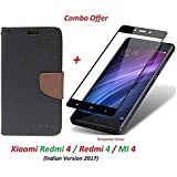 Like It Grab It Redmi 4 Flip Cover - For Luxury Mercury Diary Wallet Style Black Flip Cover Case For (Redmi 4 - May 2017 Launch) Redmi 4 Flip Cover + Premium 2.5D Curved 9H Hardness Tempered Glass Screen Protector (Brown-Black)