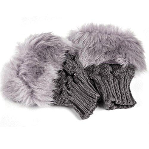 TOOGOO(R) Handschuhe Fingerlos warm Damen Mode Winter Dunkelgrau