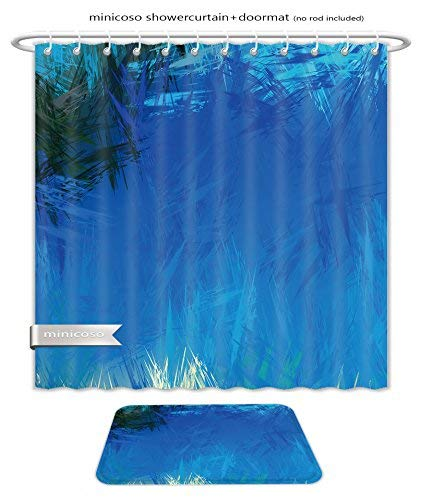 Minicoso Bath Two Piece Suit: Shower Curtains and Bath Rugs Brushed Painted Abstract Background Brush Stroked Painting Shower Curtain and Doormat Set