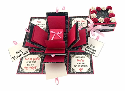 Crack of Dawn Crafts-3 Layered Romantic Explosion Box - Pink Love (No Photos Added)