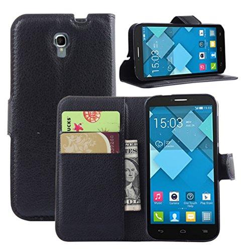 """Manyip Téléphone Coque - PU Cuir rabat Wallet Housse [Porte-cartes] multi-Usage Case Coque pour pour Alcatel One Touch Pop 2(4.5"""") OT5042X Classique Mode affaires Style(JFC3-8) H"""