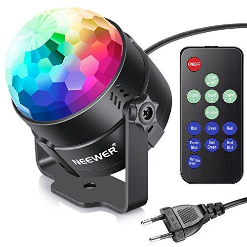 Neewer Mini LED Bühnenlicht Laut Aktiviert Party Licht mit Fernbedienung RGB 7 Farben Strobe Licht Disco Ball DJ Licht für Weihnachten Festival KTV Bar Klub Party Hochzeit und mehr