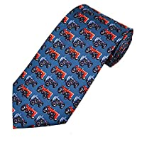 Luxury Silk Navy Blue Tie with red and blue Ferguson Tractors