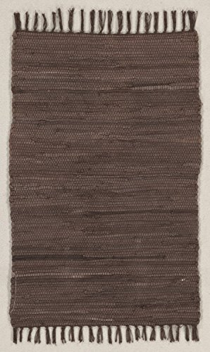(onloom Fleckerlteppich Abano, aus 100% Baumwolle, strapazierfähig und Robust, bis 30 C° Waschbar Handwäsche, Farbe:Braun, Größe:60 x 100 cm)