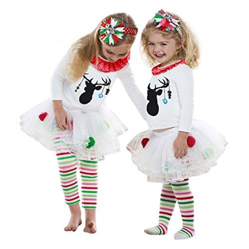 VENMO Baby Weihnachten Kleinkind Spielanzug Overall Bodies Kleider Mädchen Kleidung Set Outfit Strampler mit Stirnband Rotwild T-Shirt + Gestreifte Tüll Tutu Hose Weihnachten Outfits Set (3T, White)