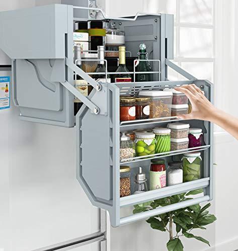 Mobiler Küchenkorb Regal und Aufbewahrungsbox Rostfreier Stahl Schrankgestell Große Kapazität Mehrschichtig Sicherer zu wählen und zu platzieren Hubkraft 4 Gang Sowohl jung als auch -