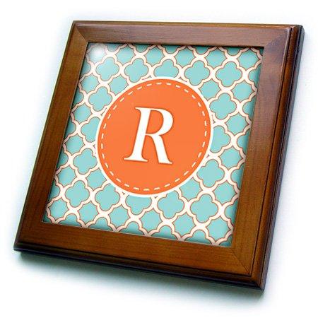 3dRose FT 210619_ 1Buchstabe R Monogramm orange & blau Vierpass-Muster von Fliesen, 8von 20,3cm