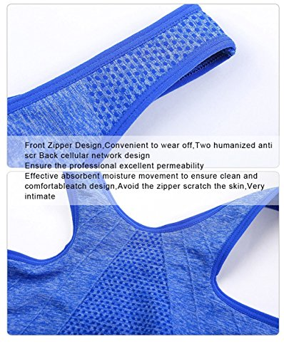 Benice Maillot sport pour femme Rembourrée Sans couture avec fermeture éclair bleu ciel - Bleu clair