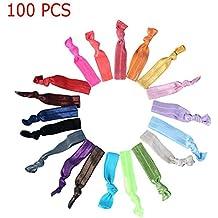 Candora® 100pcs colorido de nudo lazo cinta para el pelo pelo banda elástica Ponytail Holders gomas para el pelo coleteros accesorios para niña y mujer