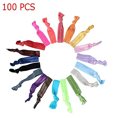 Candora® 100 PCS Colourful Knotted Ribbon Ribbon Hair Ties Hair Band Ponytail Elastic Holders Hair Elastics Bobbles Hair Accessories for Girl & Women
