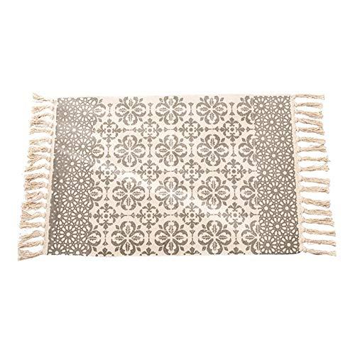 funnyfeng Teppich, handgewebt, Baumwolle, Teppich, dekorativ, wendbar, waschbar, Ethno-Stil, Stil: Bohème-Stil, modern, 60 × 90 cm