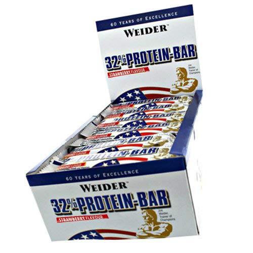 Weider 32{378067499e3a72992f33a1596e78acce3584ab886174d265b6996916a32ee28b} Protein Bar, Eiweiß-Riegel à ( 30x 60g) BIG BOX - Erdbeer
