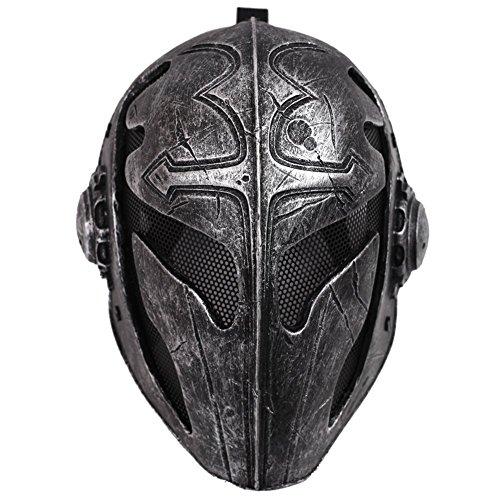 OneTigris Taktisch Vollgesichtsschutz Ritterhelm Fechten Schutzmaske Templar Maske für Herren (Schwarz) (Fechten Kostüm Schwarz)