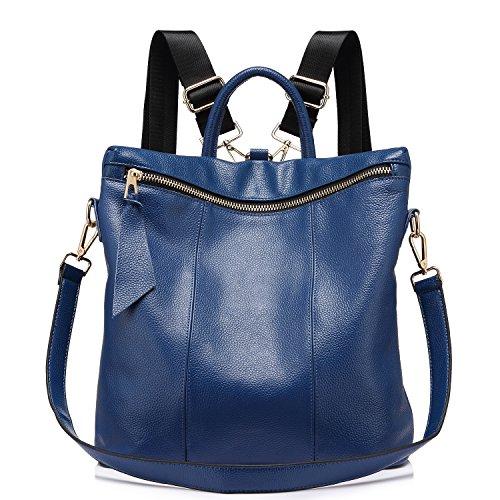 Rucksack Damen Elegant Leder Schulrucksack Umhängetasche Handtaschen Schulranzen Schultasche Daypack Schultertasche große größen Blau