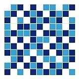 FoLIESEN Fliesenaufkleber für Bad und Küche - 20x20 cm - Mosaik blau-weiß - 3 Fliesensticker für Wandfliesen