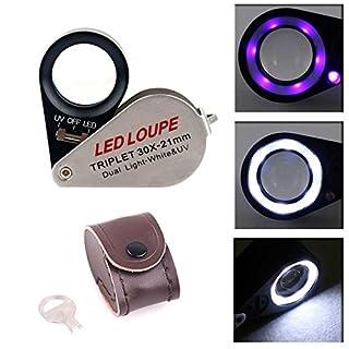 aokur 30 X 21mm Jeweler Loupe Magnifier Triplet Eye Optical Glass Magnifying LED Light UV Dual illumination