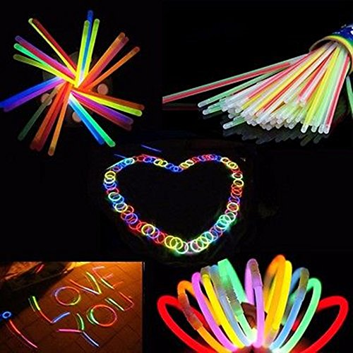 Casavidas 100 Stück Wholesale Glow Light Copious Sticks Armband flexibel Bend Light Mehrfarbig Neon Sticker Party Supplies: Multi