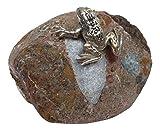 Patric Rottenecker Bronzefigur, Frosch aus Bronze montiert auf Flusskiesel, bronzefarben, 10 x 10 x 8 cm, 991273