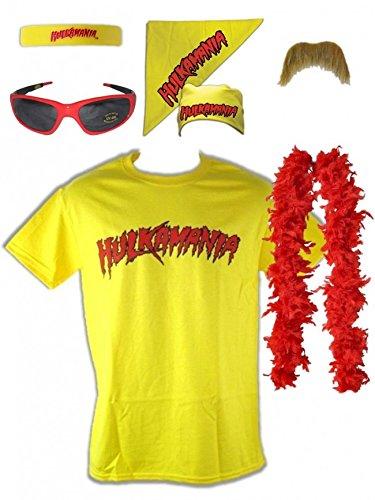 Unbekannt Kostüm Hulk Hogan Hulkamania Gelb Retro Bis 5XL !, Gr.:XL