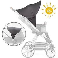 Zamboo Kinderwagen Sonnenschutz Universal - Baby Sonnenverdeck für Buggy & Sportwagen | XL Pop-Up Sonnendach mit UV Schutz 40+ und Tasche - Grau