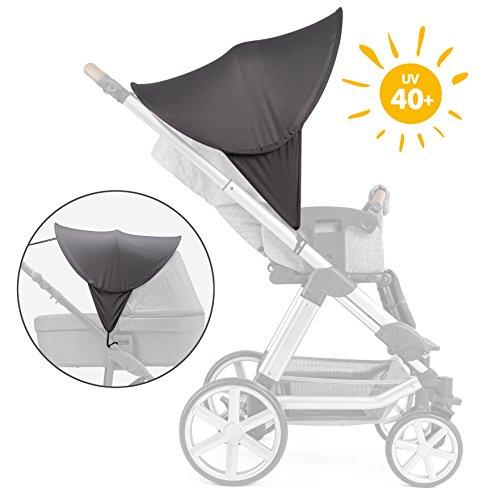 Zamboo - capottina parasole per passeggino e carrozzina - protezione solare universale, taglia xl, con funzione pop-up, protezione uv 40+, custodia inclusa - grigio