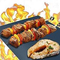 iLH 6Pcs BBQ Grill Mat Alfombrillas antiadherentes para Barbacoa Reutilizables para carbón, Parrilla eléctrica o de Gas Sábanas para Barbacoa Resistentes al Calor 40x33 cm,Negro