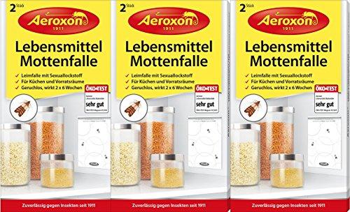 AEROXON - Trappola alimentare per falene, 3 pacchi con 6 pezzi