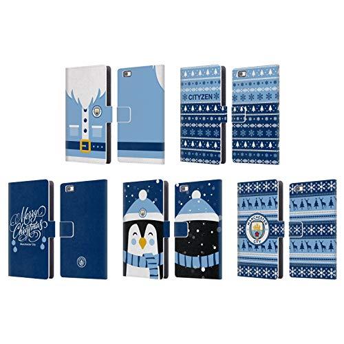 Officiel Manchester City Man City FC Noël Étui Coque De Livre en Cuir Huawei Téléphones 2