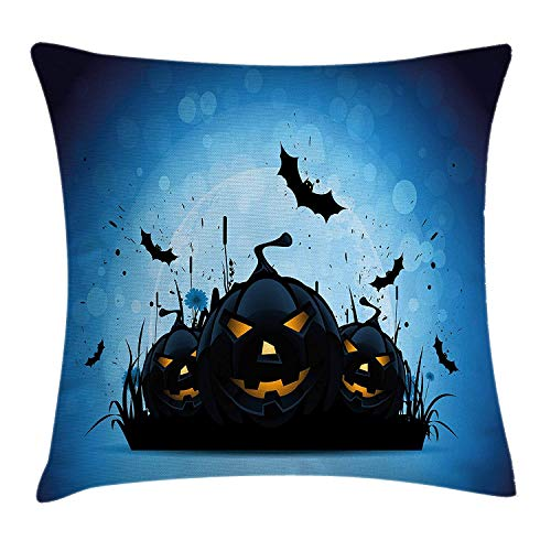 ow Pillow Cushion Cover, Scary Pumpkins in Grass with Bats Full Moon Traditional Composition, Decorative Square Accent Pillow Case, 18 X 18 inches, Black Yellow Sky Blue ()