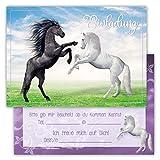 12 Lustige Einladungskarten Set Kindergeburtstag Pferden Himmel Wolke Wiese Einladung Geburtstag Party Schimmel niedlich