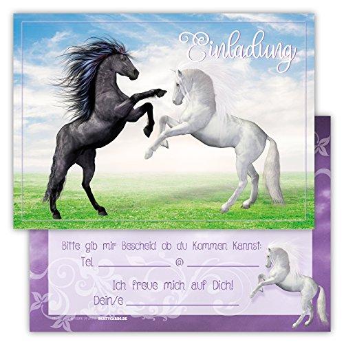 12 Lustige Einladungskarten im Set für Kindergeburtstag mit Pferden Himmel Wolke Wiese Party für Mädchen Jungen Kinder Partyspiele Karten Rosa Pink witzig Einladung Geburtstag Party Schimmel niedlich