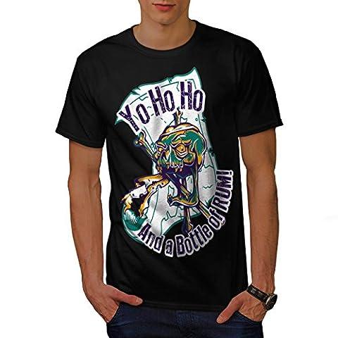 Rhum Bouteille Amusement Pirate Crâne Homme NOUVEAU Noir T-shirt L | Wellcoda