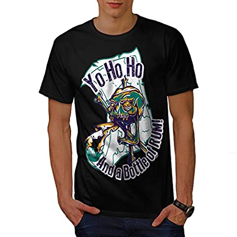 Rum Bottle Fun Pirate Skull Ghost Men NEW Black L T-shirt | Wellcoda