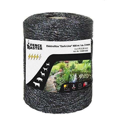 FenceMaster Spezial Weidezaunlitze DarkLine 400m - Top-Leitfähigkeit (nur 0,2 Ohm), optisch der Umgebung abgepasst, für Gartenteiche etc.