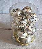 16er SET groß Ø 4cm Lilienburg Christbaumschmuck GLOCKEN Anhänger Metall XXL-Set Weihnachtsdekoration antik (Silber 2)