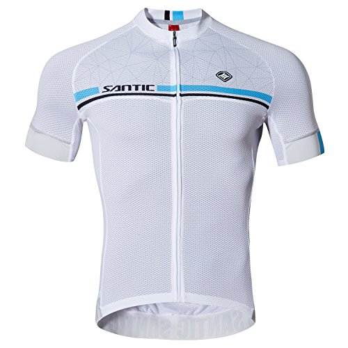 SANTIC Maillot Ciclismo Hombre, Maillot Bicicleta Hombre, Camiseta Ciclismo con Mangas Cortas Blanco EU Talla M