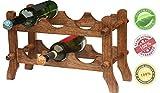 casier à vin bois - Tenez 6 Bouteilles - Grand 19,6 pouces en bois Wine Rack de comptoir Accueil & Bar accessoire - Facile à transporter partout de SouvNear