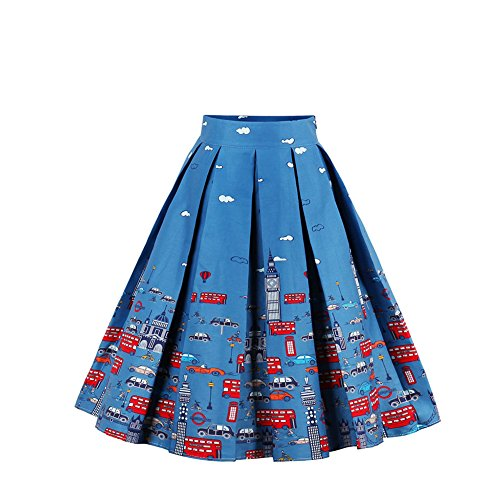 FeelinGirl Frauen Fashion Print Galaxy A-linien Röcke Retro Elegant Faltenrock Sexy Knielang Hohe Cocktail Party Minikleider Vintage Damen Skirts (Röcke Moschino Damen)