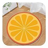 Ronda Puerta Alfombra | Amarillo limón Antideslizante Absorbente de Frutas Alfombra de baño Alfombra de la Sala Área Piso Moqueta Tapete Infantil, 100cm, como Imagen