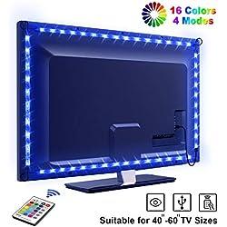 """LED TV Lightstrip Etanche avec Télécommande, OMERIL Ruban LED RGB 5050 Alimenté par USB, 2.2M Bande Lumineux 16 Couleurs et 4 Modes pour 40""""-60"""" HDTV/PC Monitor [2x50cm+2x60cm]"""