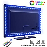 Tira LED TV 2.2M, OMERIL 5050 Tiras LED USB Impermeable con Control Remoto, 16 RGB Colores y 4 Modos, Retroiluminacion LED de TV para Cine en Casa, HDTV/PC Monitor (40-60 Pulgada) - 2x50cm+2x60cm