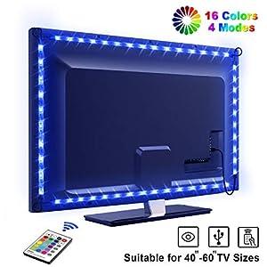 TV Hintergrundbeleuchtung OMERIL 2.2M USB Led Band Strip Wasserdicht RGB LED Streifen Fernseher Beleuchtung mit 24-Key…