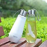 Oneday Cristal Botella De Agua Ecológico y sin bpa Camping Exterior antigoteo 16,9oz botella de cristal con Free Funda & Cepillo de copa de agua (), diseño de águila