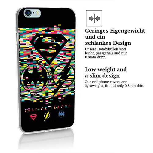 finoo | iPhone 8 Handy-Tasche Schutzhülle | ultra leichte transparente Handyhülle in harter Ausführung | kratzfeste stylische Hard Schale mit Motiv Cover Case |Batman face pixel Justice league logos distortion