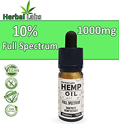 Pure Organic Hemp Oil Drops Full Spectrum Raw Paste Hemp Extract 10% 1000mg Natural Ingredients from Herbal Labs