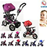 G4RCE® Premium Quality 4 in 1 Smart Design 3 Wheeler Trike Rider Tricycle Kids Trike With Rotating Seat UK (Pink)